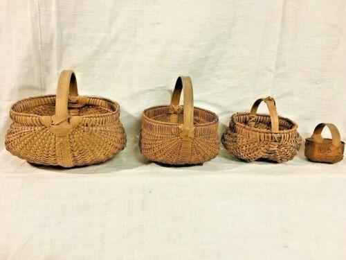 Antique Early American Cherokee Oak Splint Melon Baskets Lot of 4 abt 1880-1930s