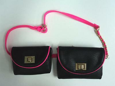 Juicy Couture Purse FANNY Pack Hand Bag Black Pink Wallet - FLASH SALE (Cheap Fanny Packs)