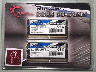 G.Skill Ripjaws 32GB (2x16GB) SO-DIMM DDR4-2400 PC4-19200 RAM F4-2400C16D-32GRS