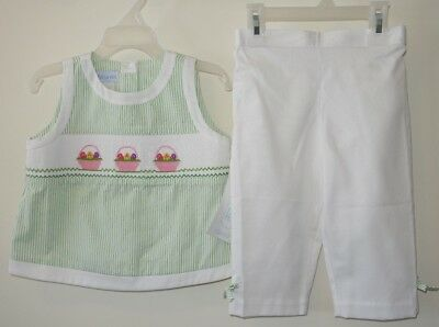 New Vive La Fete Smocked Easter Capri Outfit Girl's Size -