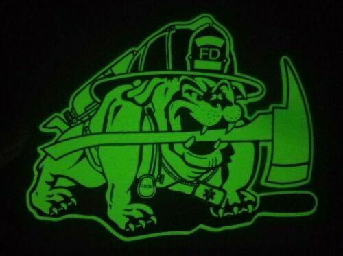 "FD Bulldog Glow in the Dark Firefighter Decal, 5"" x 3.5"" FD141"
