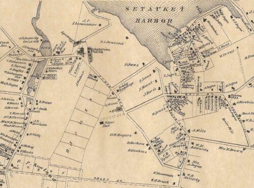Setauket Mount Sinai Lakeland East Setauket  NY 1873 Map Homeowners Names Shown