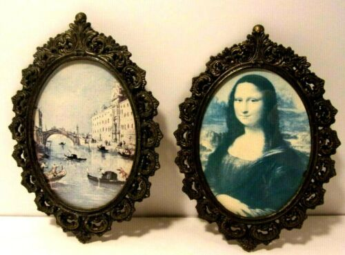 2 Vintage Action Ornate Metal Picture Frame Made in Italy with Glass Mona Lisa +