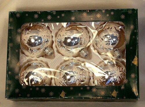 Art-Pol  Box of 6  Mirror Ball w Snowflake Glass Christmas Tree Ornaments Poland