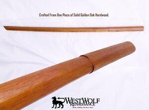 Japanese-Solid-Oak-Practice-Sword-Wooden-Training-Katana-Samurai-Bokken-NEW