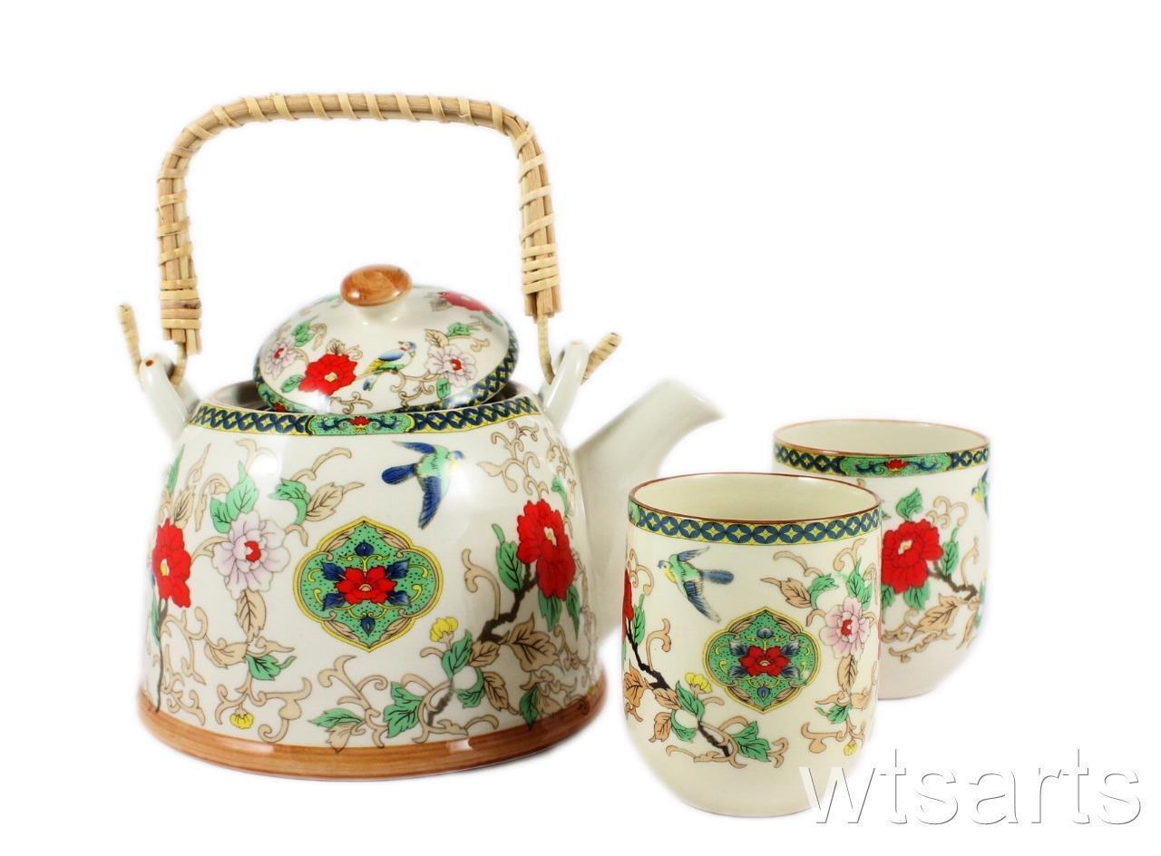 Chinese Tea Pot and 2 Tea Cup Set Infuser  Teapot Tea Set