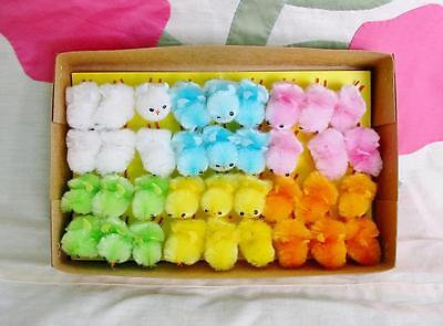 Teeny Tiny Soft Chenille Easter Chicks Box of 36 Assorted Colors Adorable!