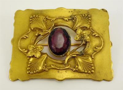 (Antique Brass Victorian SASH PIN BROOCH w/ purple glass stone C clasp)