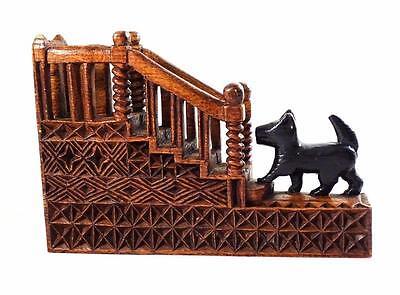 CARVED WOODEN DESK TIDY/PEN HOLDER -SCOTTY DOG CLIMBING STAIRS- FOLK ART/WW2 POW