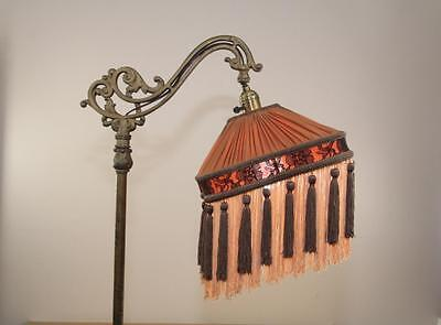 Bridge Floor Lamp Shade Victorian Pleated & Fringed Tailor Made Lampshades Brown