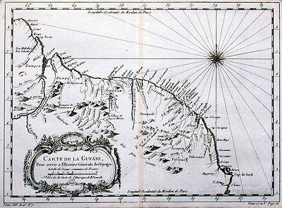 Antique map, Carte De La Guyane