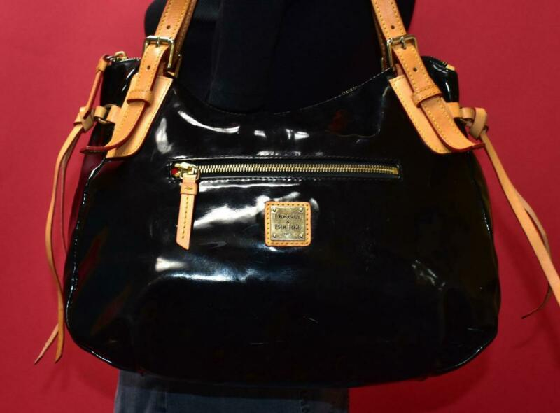 "DOONEY & BOURKE ""Venus Nina"" Black Patent Zip Hobo Leather Satchel Purse Bag"