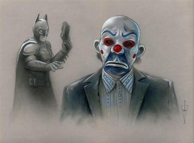 BATMAN & JOKER Drawing - 12 x 18 Artwork - The Dark Knight/Rises - Clown Mask