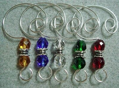 =^..^=   Color Glass Bead Ornament Hangers Hooks silver