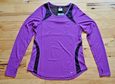 Womens Nike Dri-FIT Long Sleeve Running Shirt Purple Black 825857 513 Size XS S