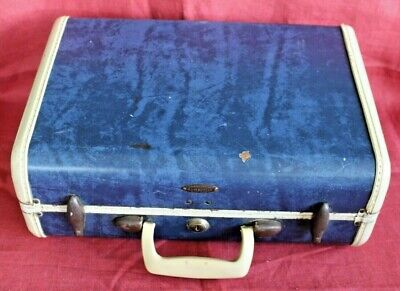 "SAMSONITE ~ Vintage Blue Marble Small Travel Case 15"" Carry-on Shwayder Bros GUC"