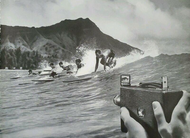 1934 Hawaii Waikiki Surfing Surfer Photo Kodak K Movie Camera Vintage Print Ad