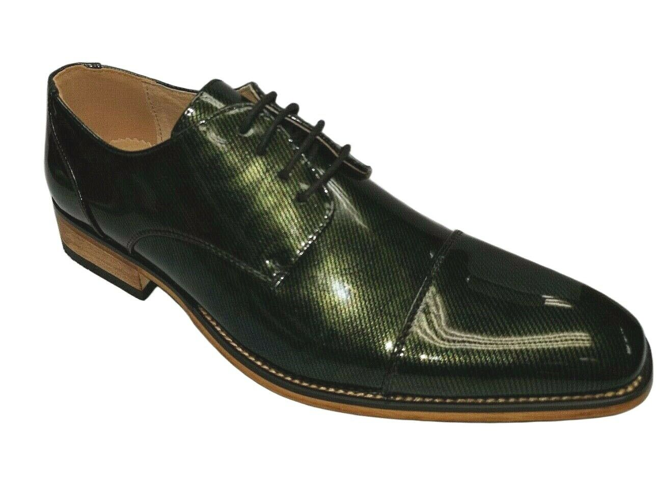 UV Signature Men's Oxfords Cap Toe Green Patent Dress Shoes UV101