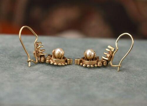 Antique Victorian 14K rose gold pearl dangle earrings