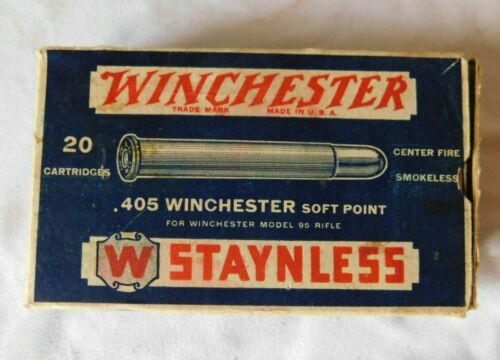 Vintage WINCHESTER .405 Staynless Ammunition Bullets BOX ONLY model 95 Rifle