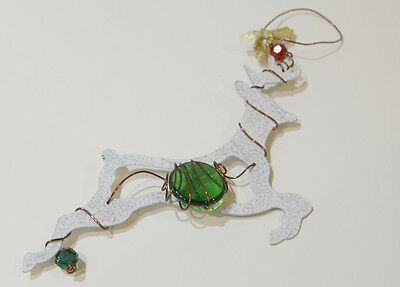 Christmas Flying White Reindeer With Green Glass Marble Ornament