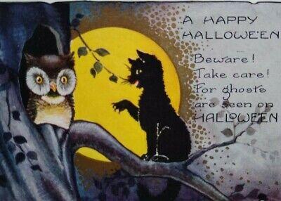 Vintage Halloween Postcard Whitney Black Cat & Owl By Moonlight Original Antique