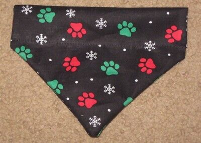 Christmas Snowflakes & Paw Prints Dog Bandana - 5 sizes XS-XL