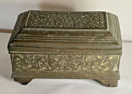 Antique Middle Eastern Persian Brass Jewelry Trinket Box