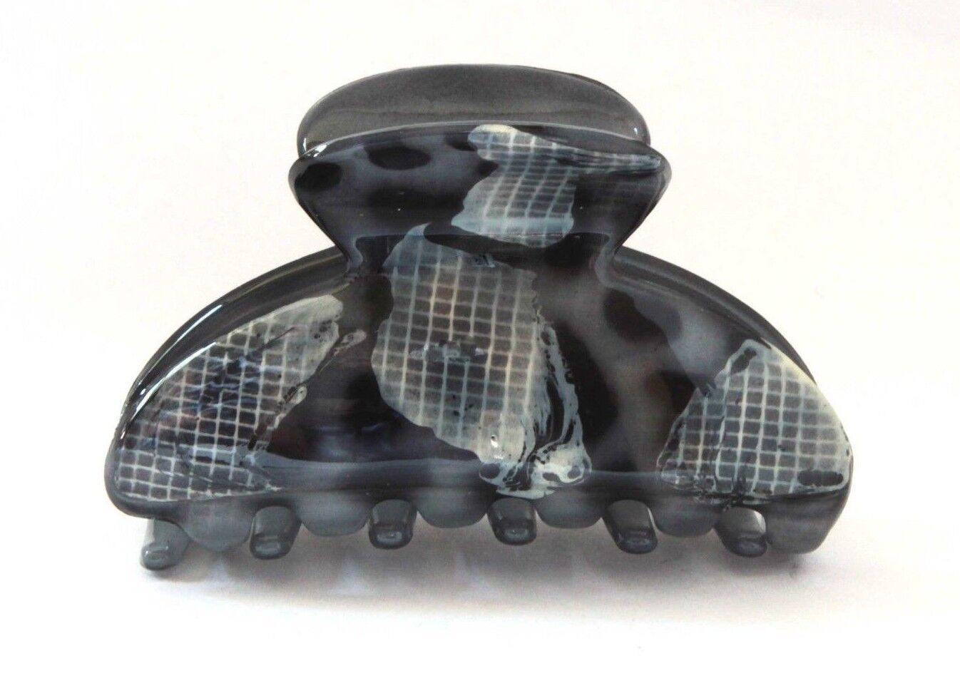 Belle Le Paris French Hair Claw 3 Inch Grey Pattern Tortoise