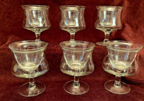 6 Vintage Clear 2-Part Stemmed Glass Shrimp Seafood Cocktail With Insert, Plain