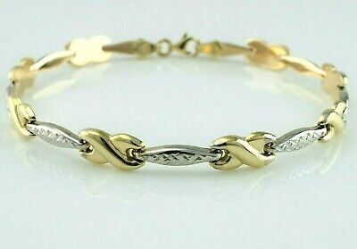 Diamond Cross Link Bracelet - 9ct Yellow & White Gold Diamond Cut Fancy Cross Link Bracelet 19cm / 7.5 inch