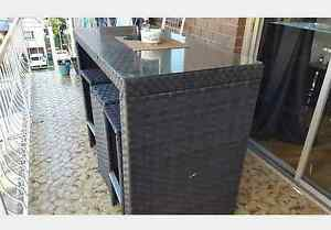 Outdoor dining table glass top with 6 chairs Auchenflower Brisbane North West Preview