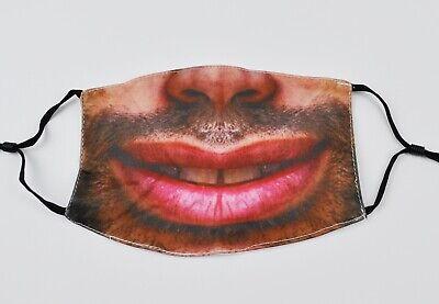 Mundschutz Maske lustiges Spaß Motiv Lächeln große Lippen Mund Bart