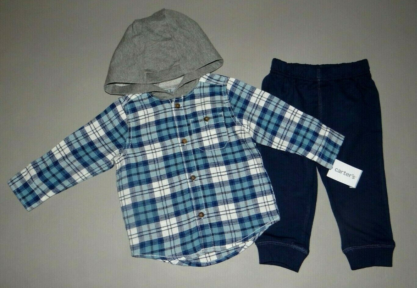 Baby boy clothes, 5T, Carter's 2 piece flannel set/ SEE DETA