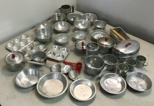 Vintage 42pc Aluminum Child's Dollhouse Cookware Baking Pans Pie Pans Teapot