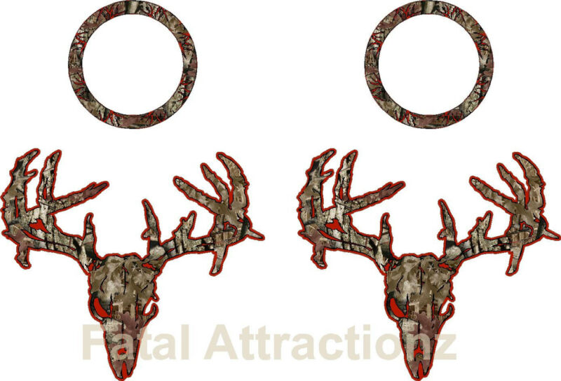 Dark Red Brown Camo Zombie Deer Skull Cornhole Pack Vinyl Decal Sticker buck
