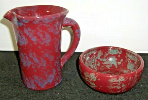 Vtg. Bybee Pottery Burgundy Spongeware Pitcher & Bowl Excellent Condition