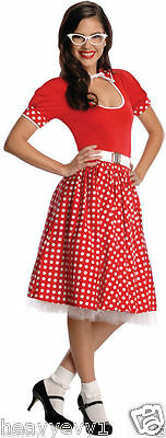 Women's 50's Co-Ed Cutie Costume Red & White Polka dot  Sexy Nerd  Dress no belt - Nerd Costume Women