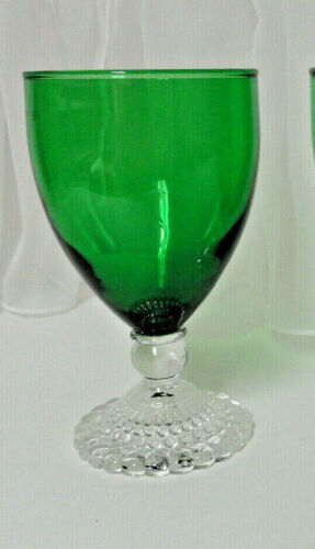 """Vintage 1950s Anchor Hocking Single Forest Green Bubble Foot 5 1/2"""" Water Goblet"""