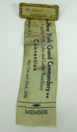 1938 Knights St John Member Pin Ribbon Syracuse NY GRAND COMMANDERY Convention