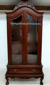 ANTIQUE-REPLICA-MAHOGANY-DISPLAY-CABINET-DINING-LOUNGE-WALL-UNIT-ORNATE-FREE-DEL