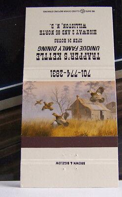 Rare Vintage Matchbook Cover R3 Williston North Dakota Trapper's Kettle Birds