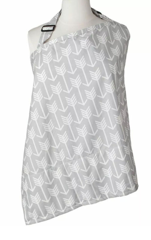 💜Gray Baby Nursing Cover Arrow + Sewn in Burp Cloth Breastfeeding+Bag New