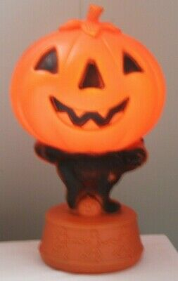 Halloween Short Tail Black Cat Pumpkin Blow Mold W Dancing Skeletons Decorations