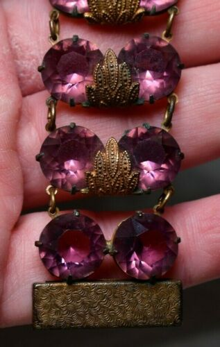 Vintage Victorian Brass and Purple Stone Bracelet BEAUTIFUL!