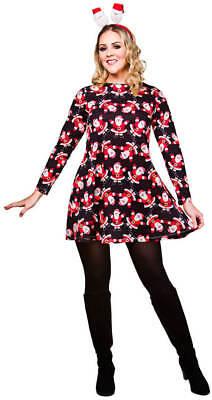 Ladies Black Christmas Dress With Santa's Fancy Dress - Black Santa Outfit