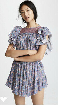 LoveShackFancy Marcella floral ruffle mini dress Large Retail $385