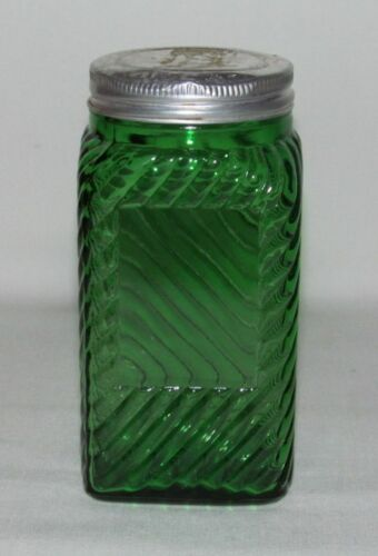 Kitchenware Owens-Illinois DIAGONAL LINES Forest Green Square Canister with Lid