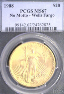 1908 $20 PCGS MS67 NO MOTTO-WELLS FARGO (825)