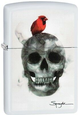 Zippo Steven Spazuk Skull Fumage WindProof Lighter White Matte 29644 NEW L@@K